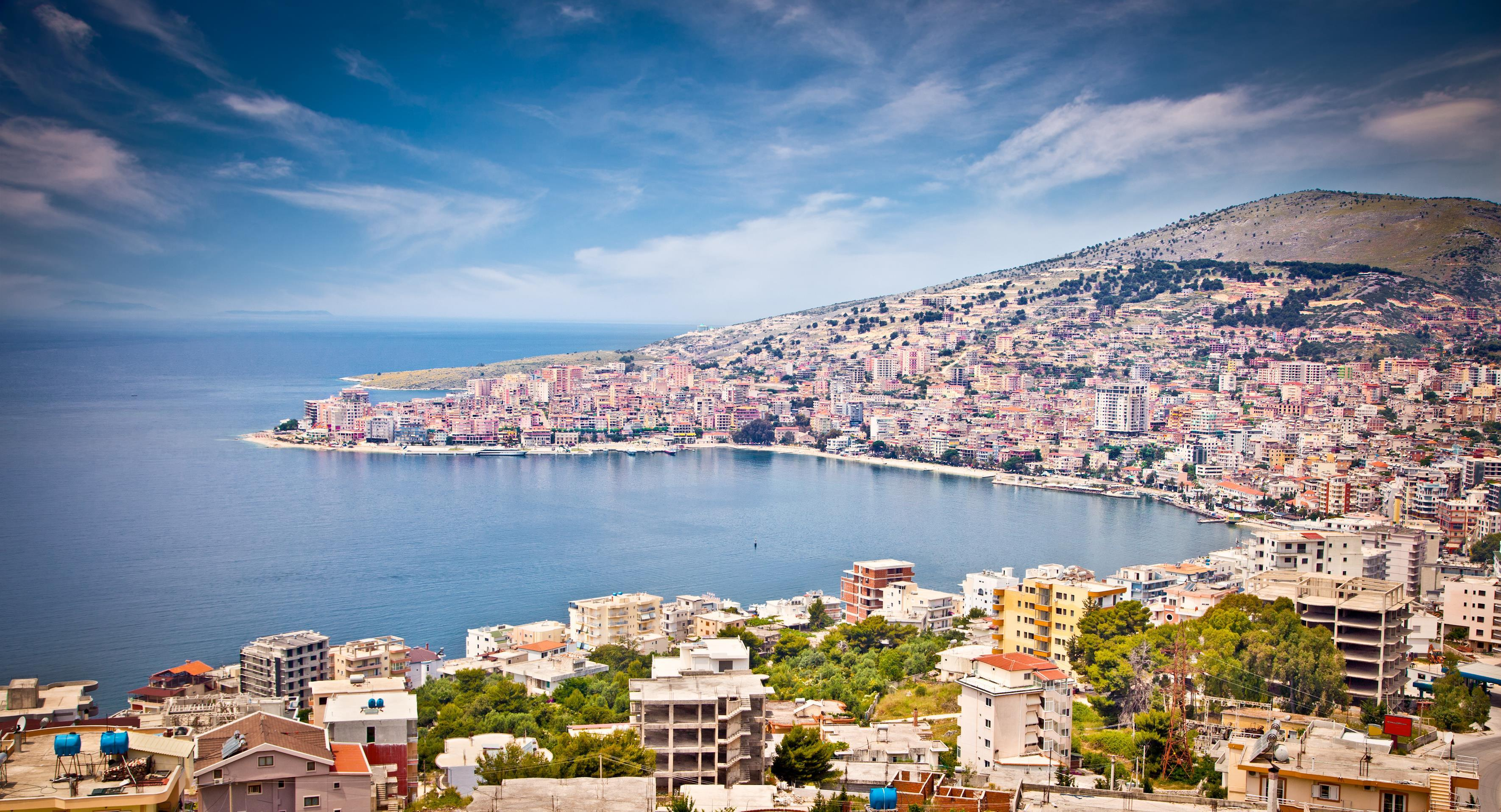Panoramic view on Sarande city at suny day, Albania.